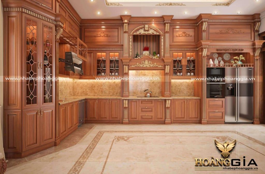 Khám phá mẫu tủ bếp gỗ gõ đỏ dát vàng nhà biệt thự